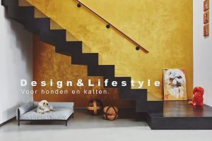 Design & lifestyle weergegeven in een prachtige huiskamer met hondenmand