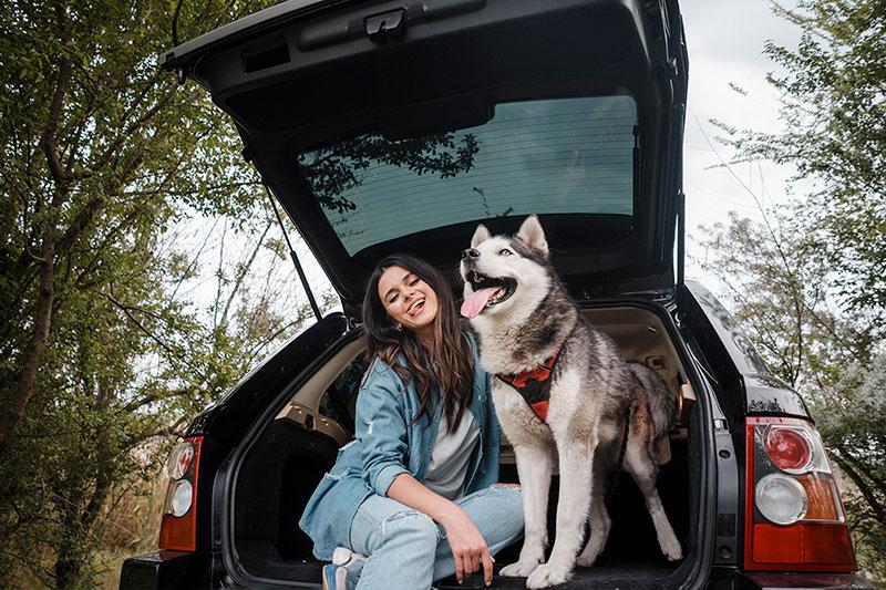 Vrouw en hond lachend in de auto