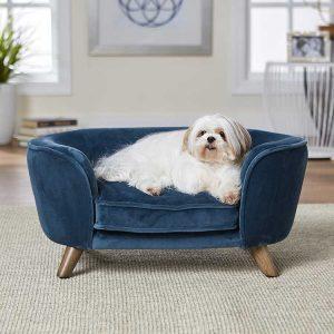 Hondenbank Romy Sofa Blauw met hond