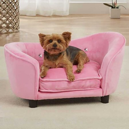 Roze hondenbank met hond